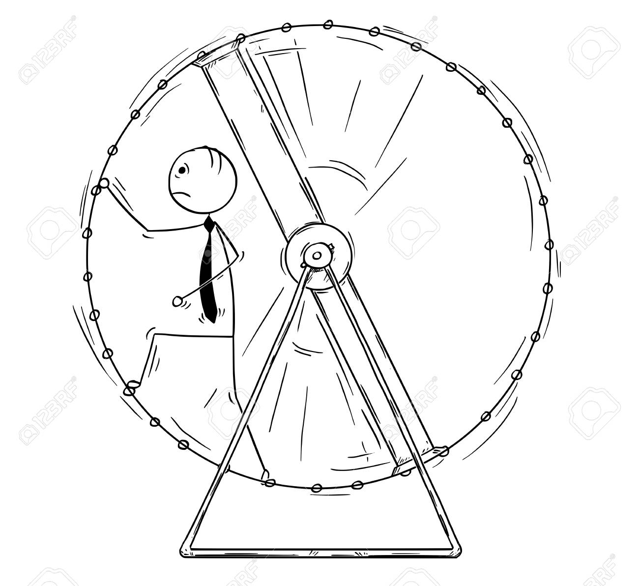 Cartoon stick man drawing conceptual illustration of exhausted businessman in squirrel wheel doing ineffective routine job. - 92626708