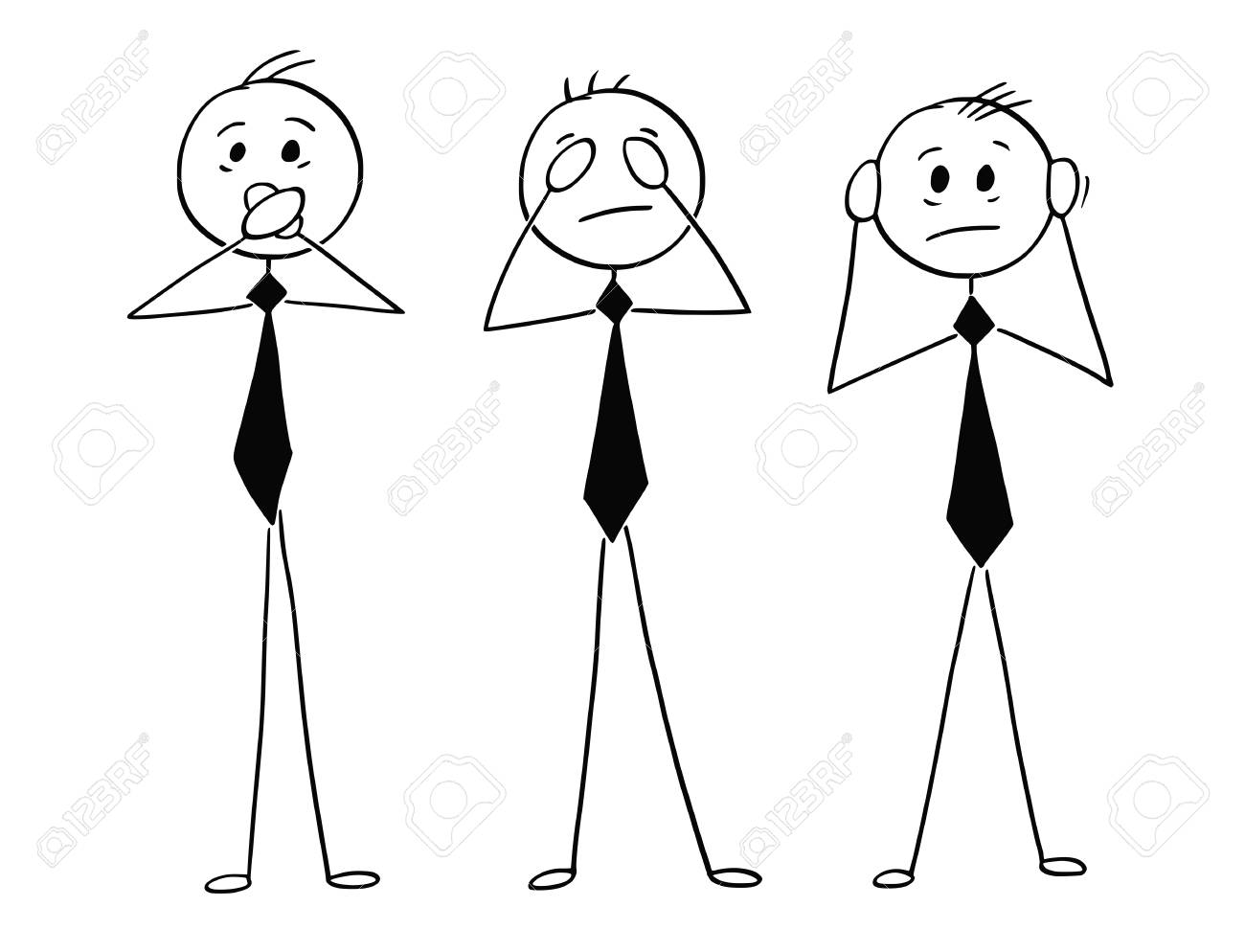 Cartoon stick man drawing conceptual illustration of three businessmen who see no evil, hear no evil and speak no evil. Inspired by three wise monkeys legend. - 93160649