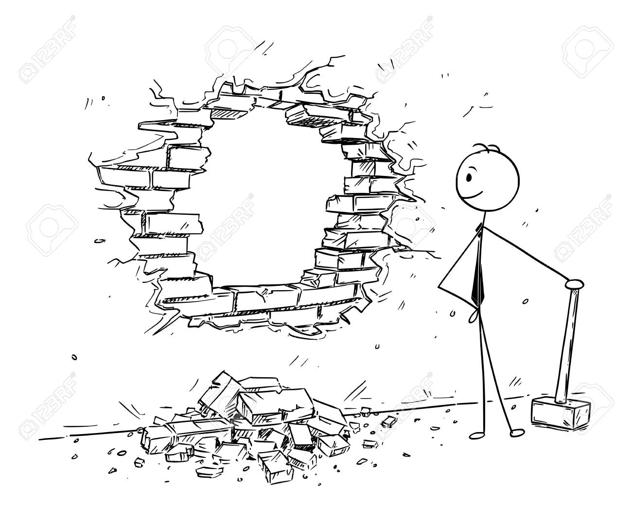 Cartoon stick man drawing conceptual illustration of businessman using hammer to break hole in the wall. Business concept of removing obstacles and looking for opportunities. - 93555822