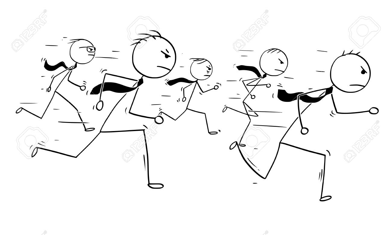Cartoon Stick Man Drawing Conceptual Illustration Of Five Businessmen Or Business People Running Competition Race