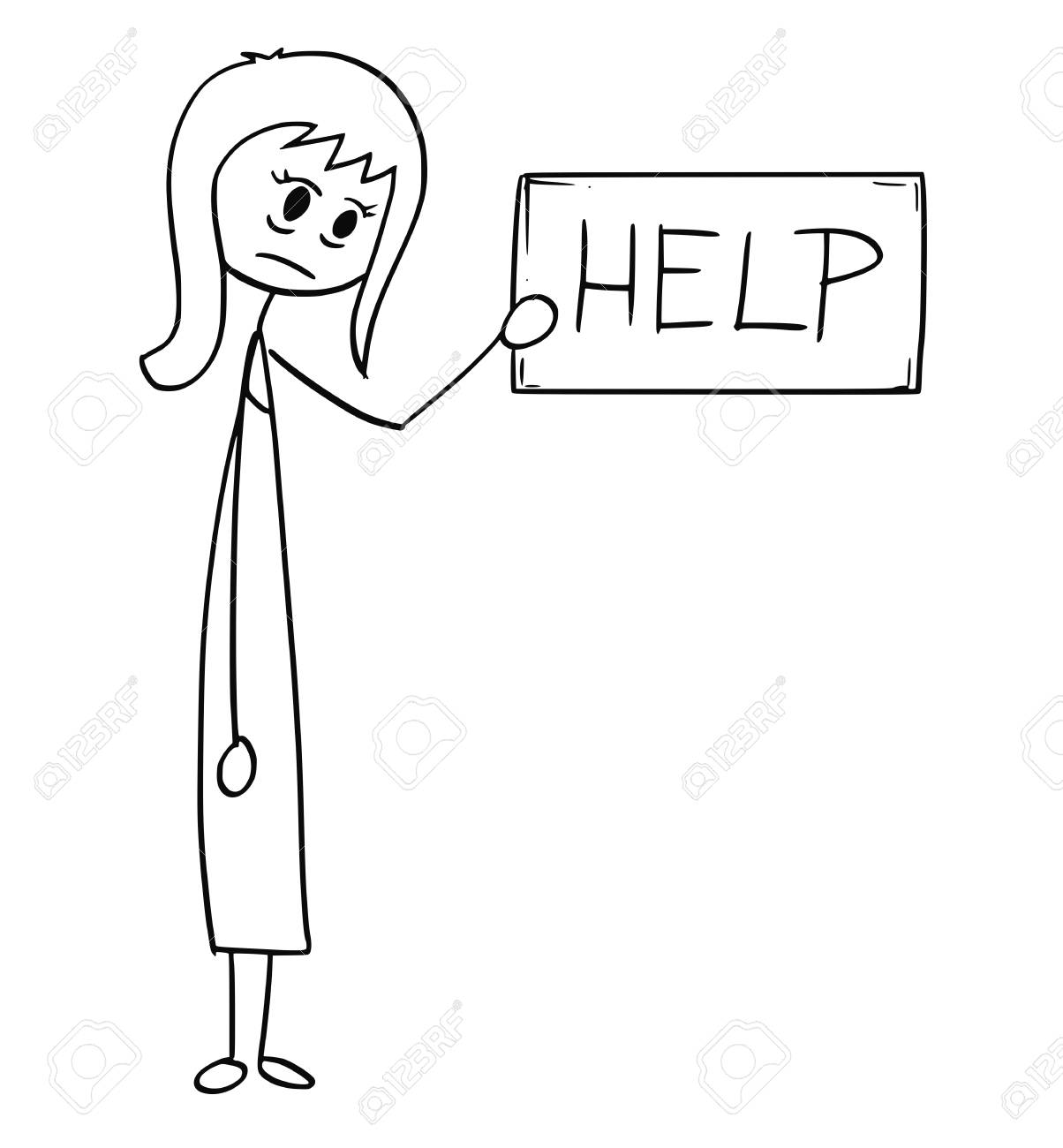 Cartoon stick man drawing conceptual illustration of depressed or tired businesswoman or woman holding help text sign. Business concept of exhaustion and tiredness. - 93927103