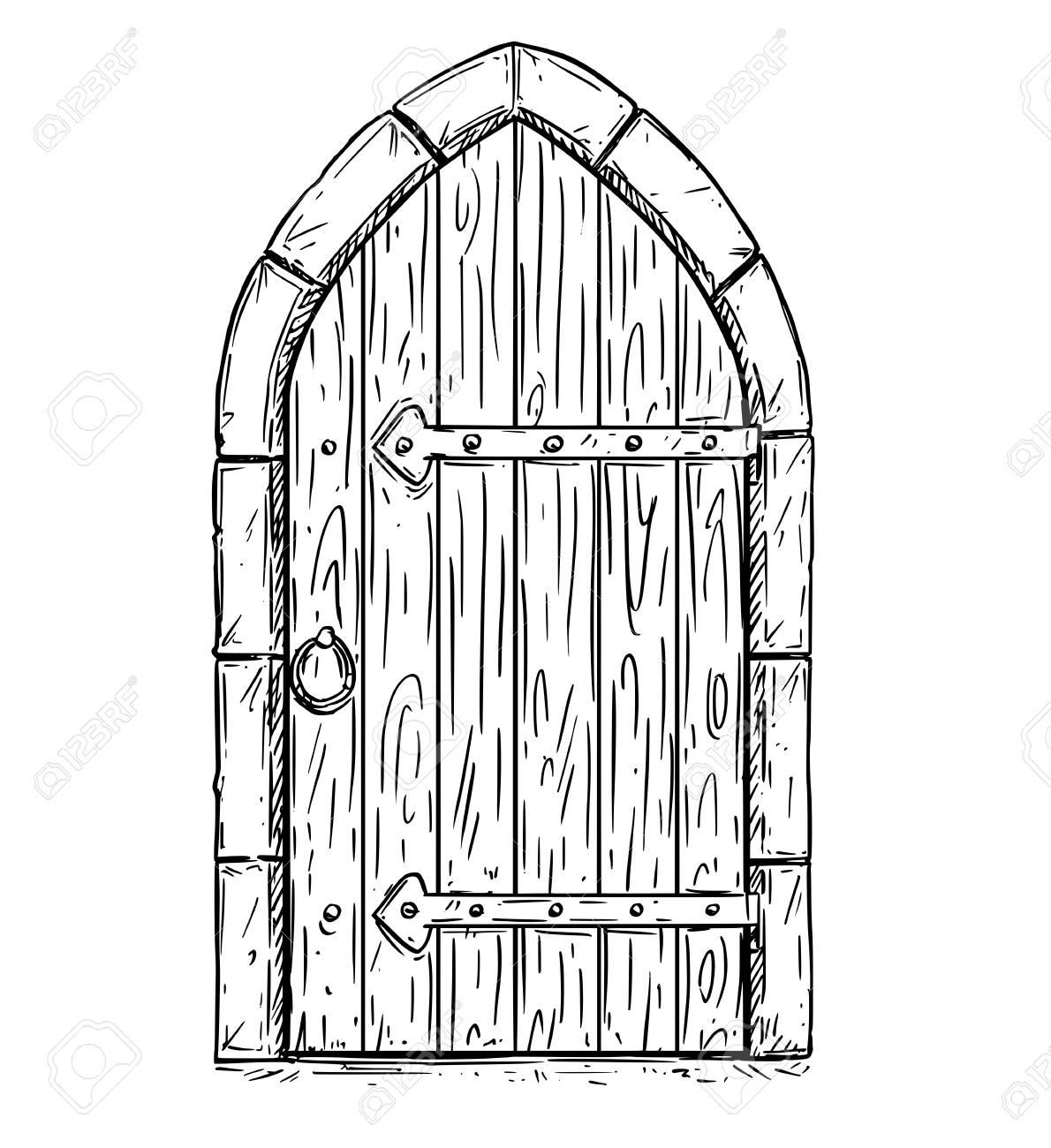 closed door drawing. Cartoon Vector Doodle Drawing Illustration Of Closed Or Locked Medieval Wooden Door. Stock - Door N