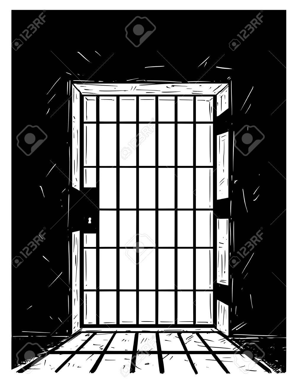 Cartoon vector doodle drawing illustration of prison or jail door made from iron bars casting shadow. - 94762781