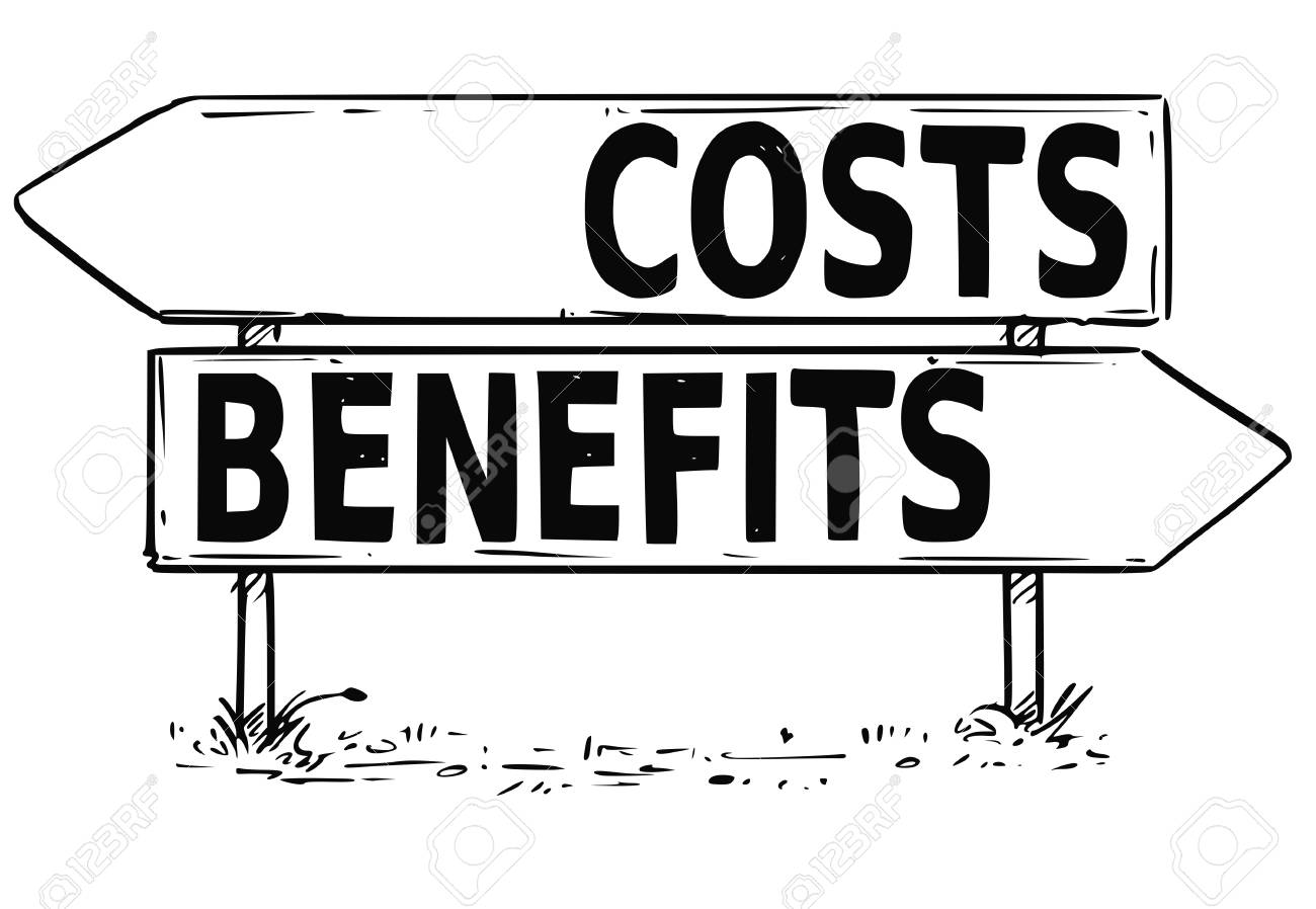 Vector Drawing Of Costs Or Benefits Business Decision Traffic ...