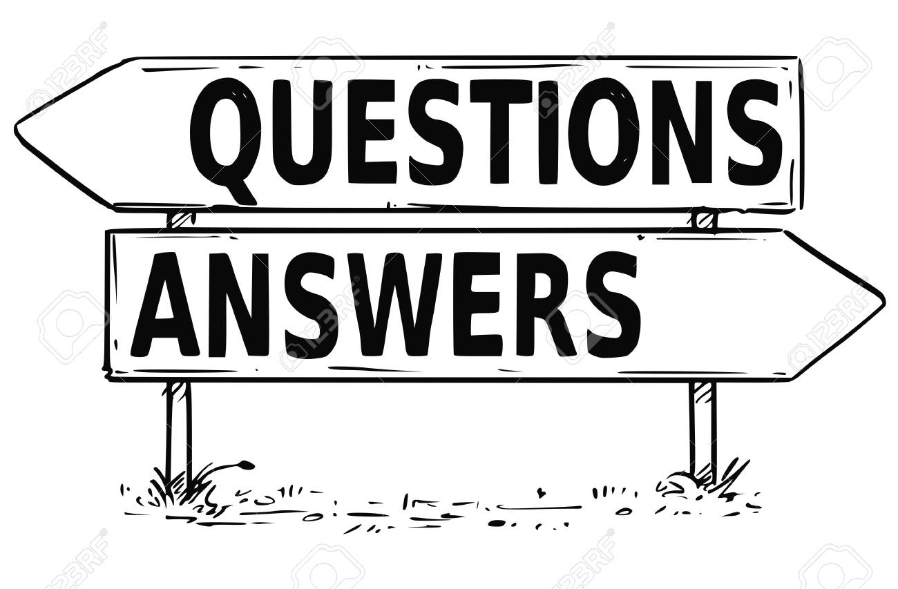 Vector Drawing Of Questions Or Answers Business Decision Traffic ...