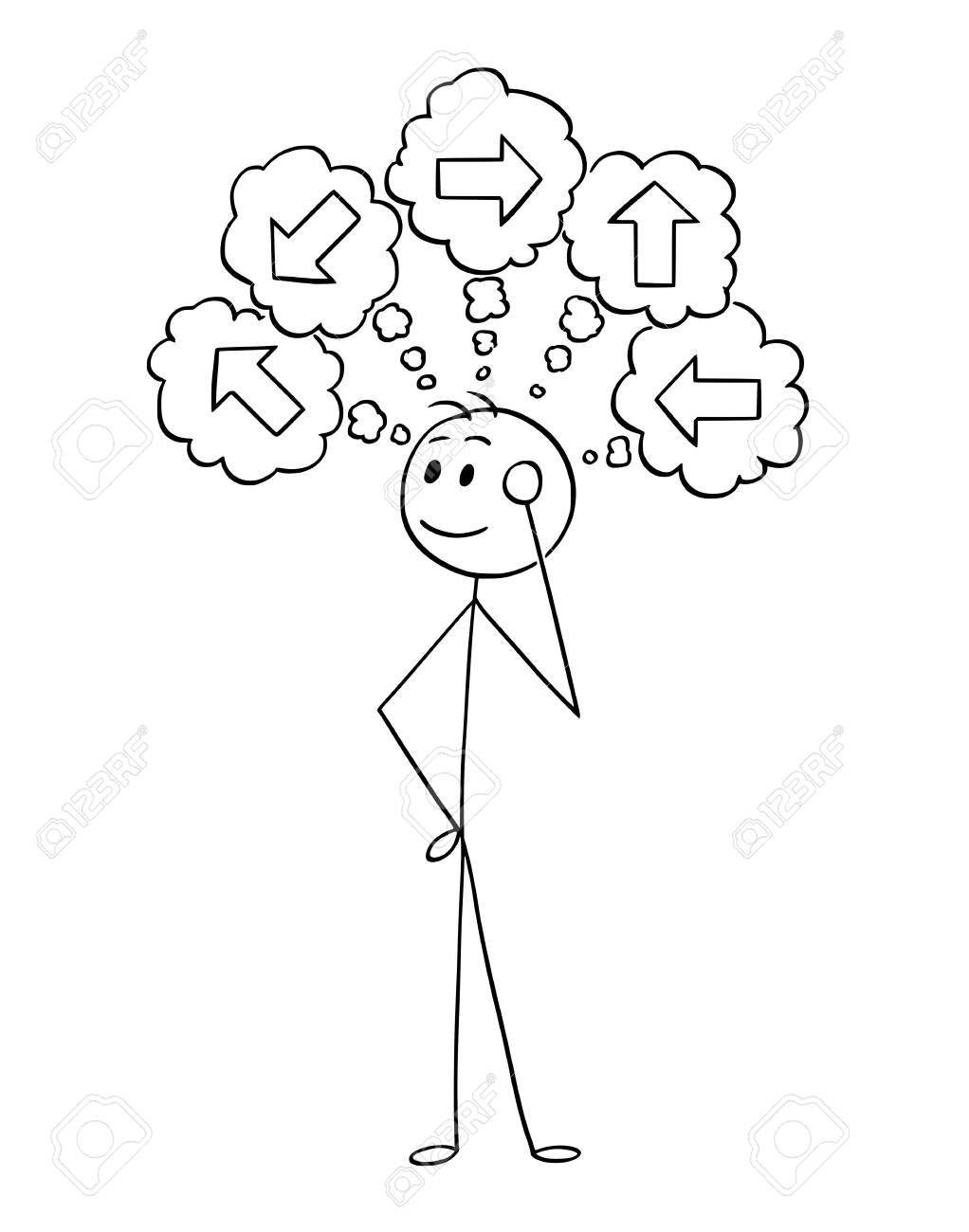Cartoon stick man drawing conceptual illustration of businessman thinking about what direction to choose. Business concept of decision. - 96115915