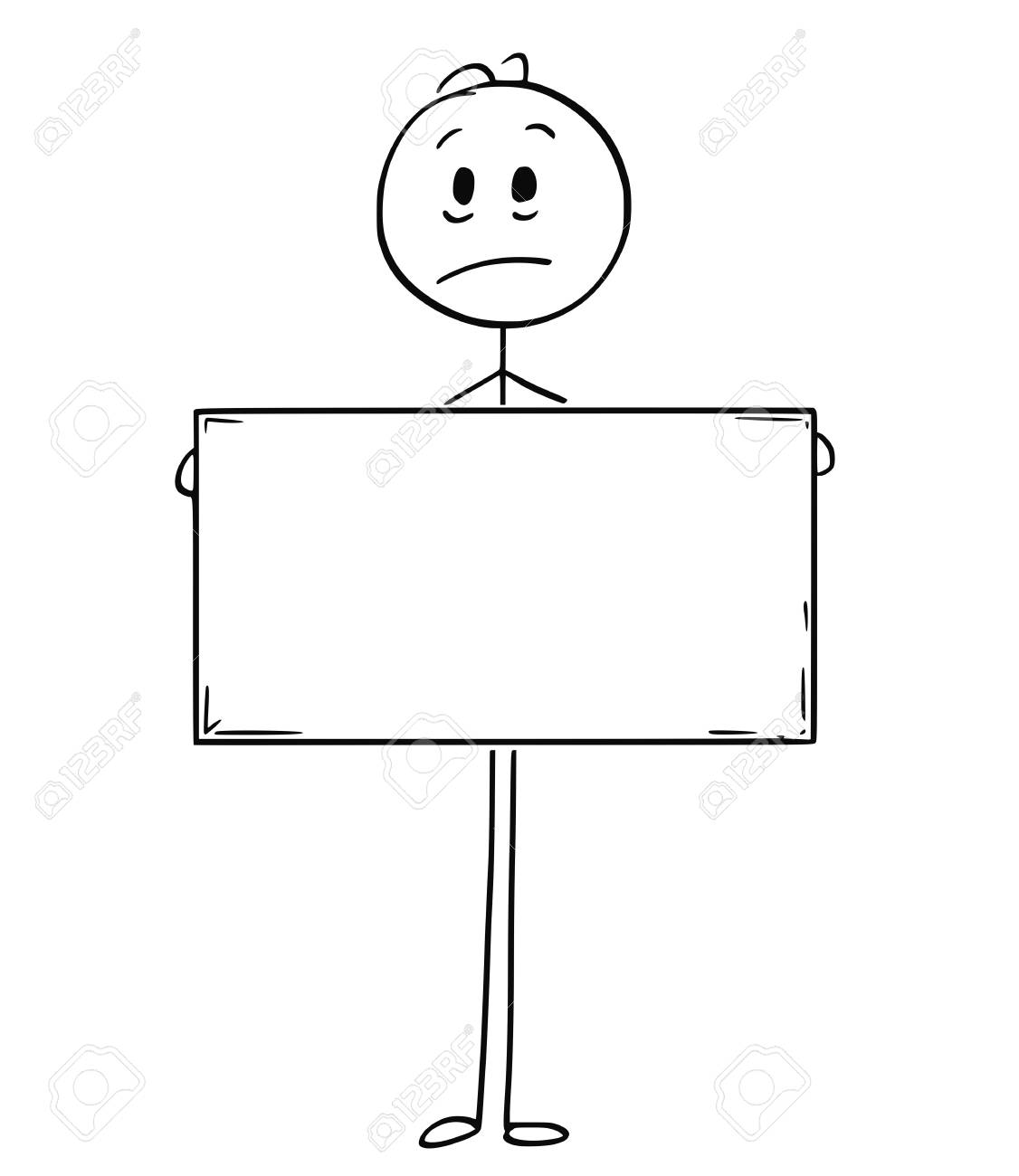Cartoon stick man drawing conceptual illustration of sad man or businessman holding large empty or blank