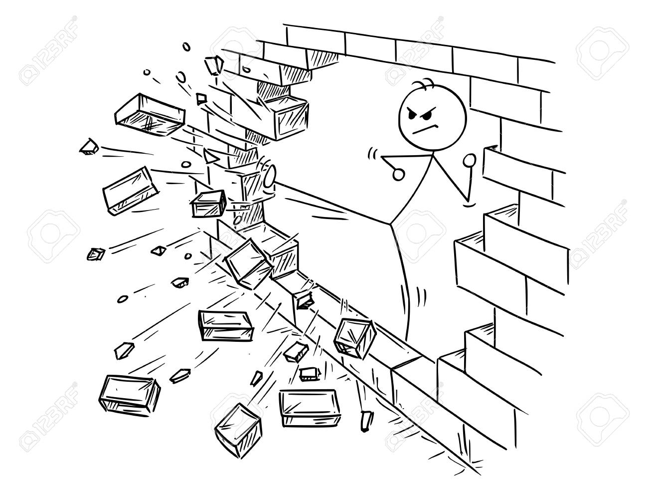 Conceptual illustration of businessman doing kung-fu or karate kick to destroy the brick wall. - 96170147