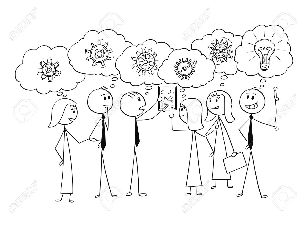 Cartoon stick man drawing conceptual illustration of business team or group of businessmen and businesswomen working together to find problem solution, one Businessman just get the idea. Concept of teamwork and brainstorming. - 96235475