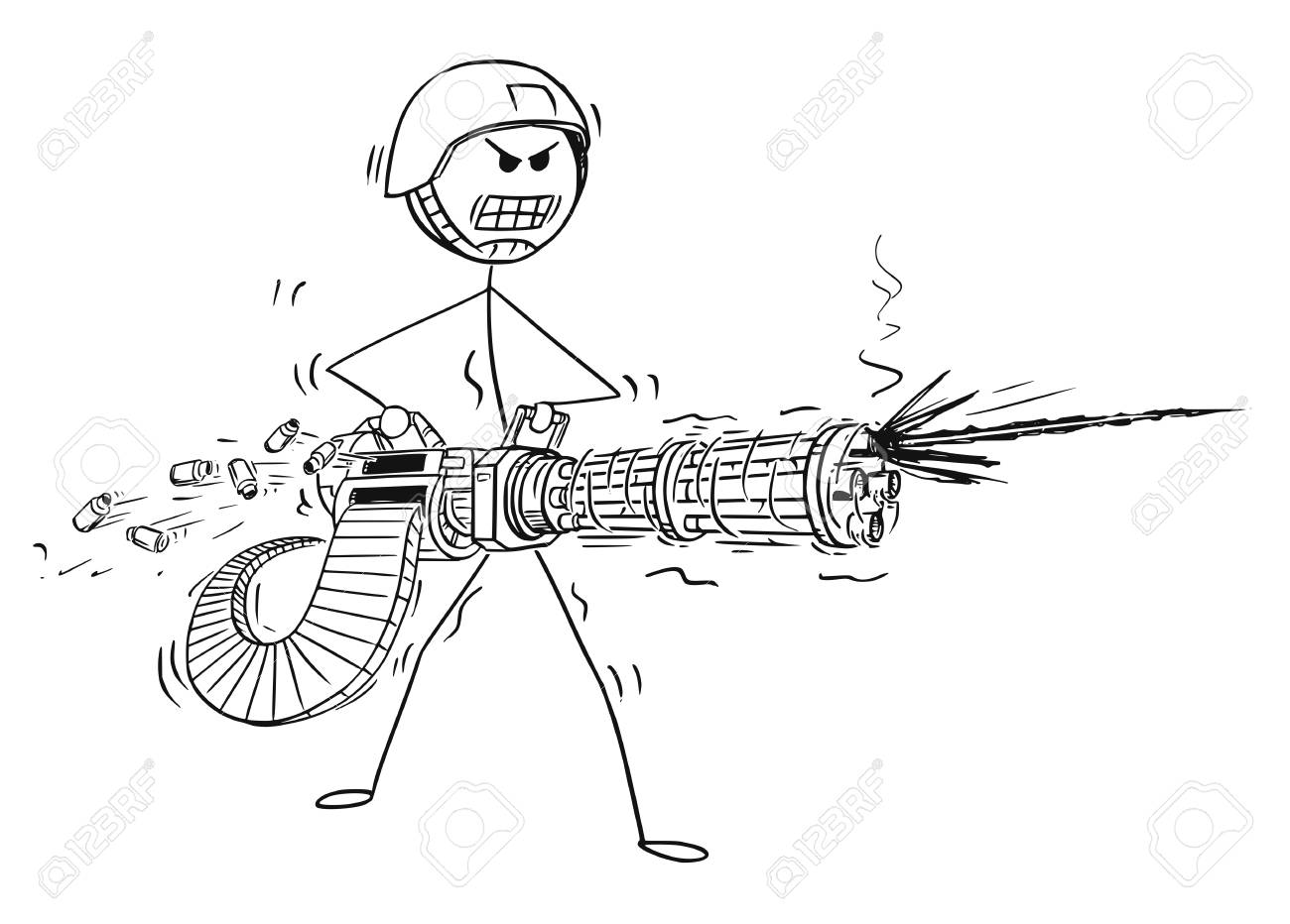 Cartoon Stick Man Drawing Of A Conceptual Illustration Of A Soldier