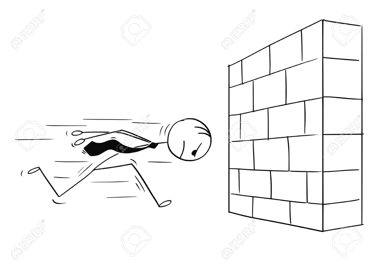Cartoon stick man drawing conceptual illustration of headstrong businessman running against brick wall head first. Business concept of confidence and motivation. - 97618951
