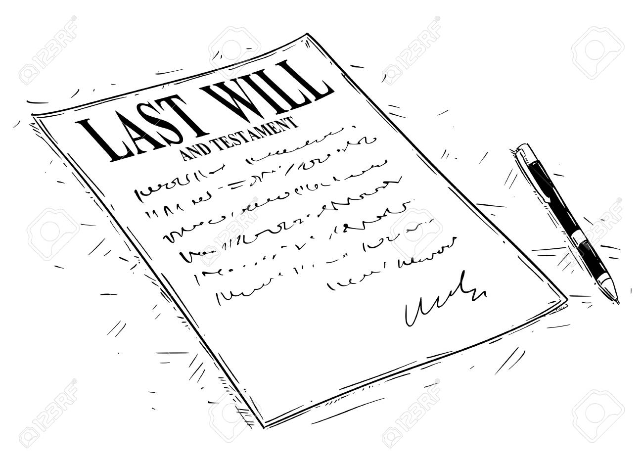 Vector artistic ink drawing illustration of pen and last will and testament document to sign. - 101047796