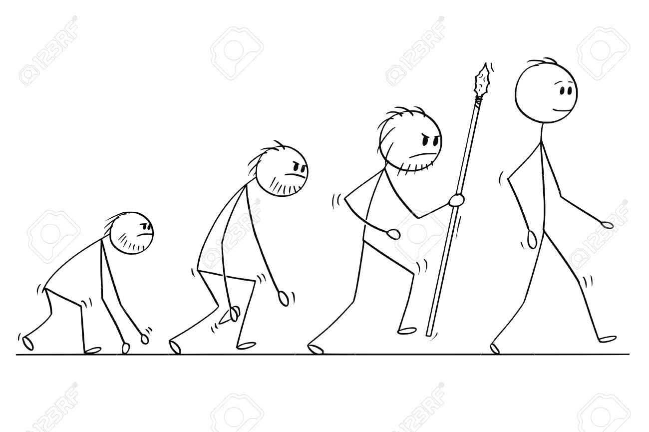 Cartoon stick man drawing conceptual illustration of human evolution process progress. - 101115591