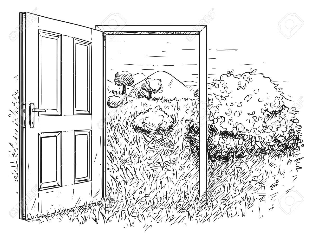 open door drawing sketchbook vector artistic pen and ink drawing illustration of open door in beautiful nature landscape with grass trees mountains sky artistic pen and ink drawing illustration of open door