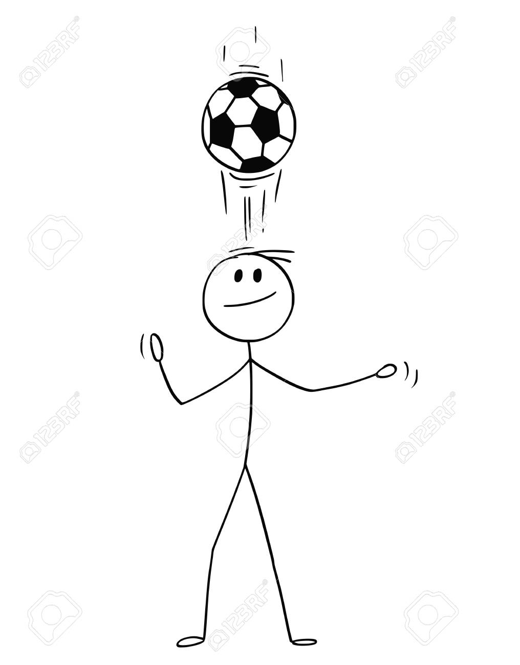 Cartoon Stick Man Drawing Conceptual Illustration Of Football