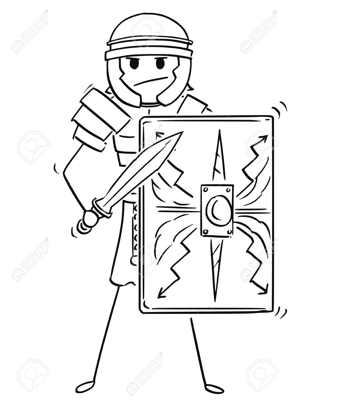 Cartoon Stick Man Drawing Conceptual Illustration Of Ancient