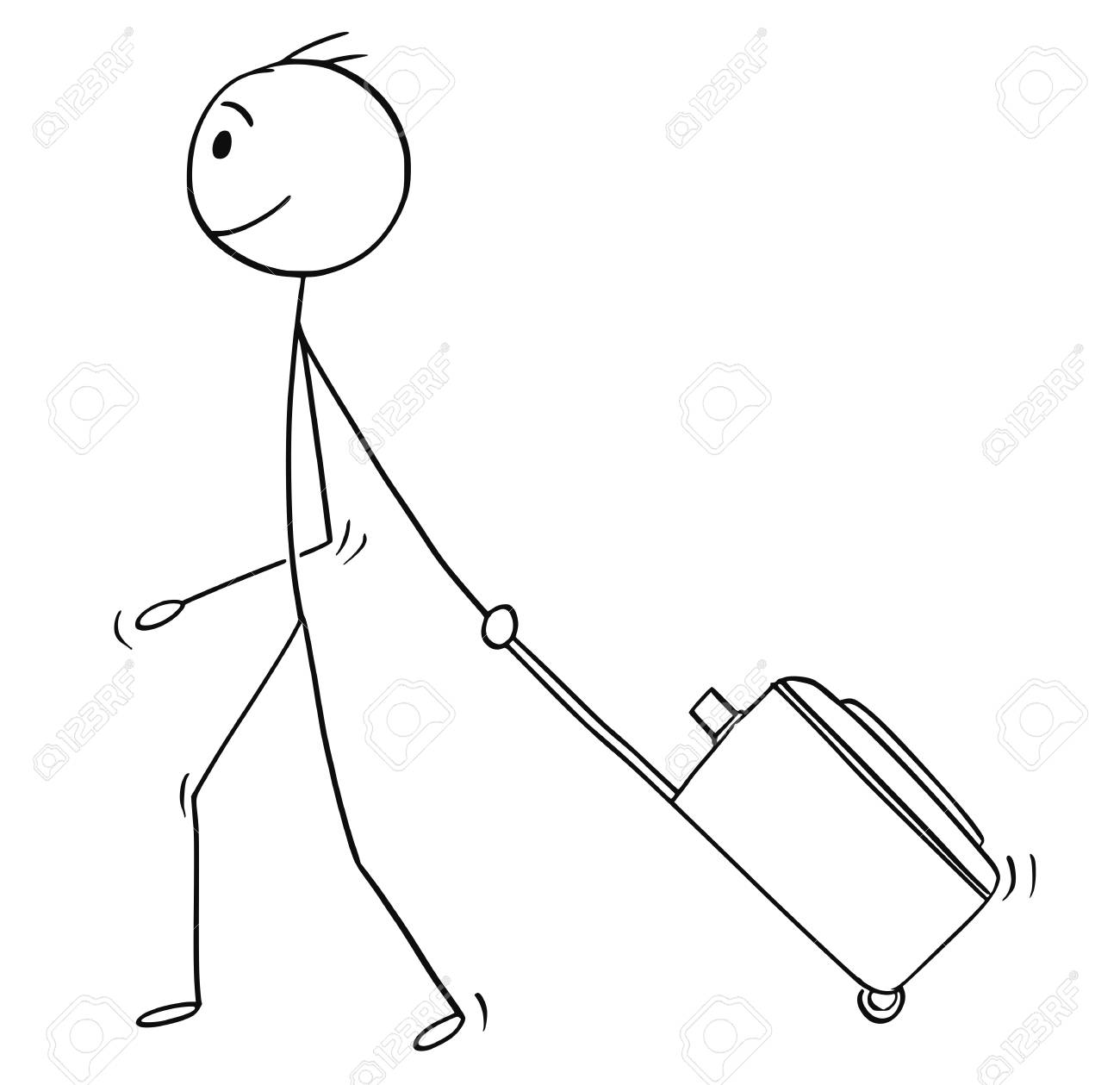Cartoon stick man drawing conceptual illustration of man or male tourist with wheeled luggage or case going on holiday or vacation. - 102414809