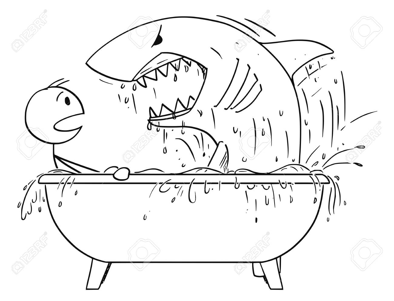 Cartoon Stick Man Drawing Conceptual Illustration Of Attacked By Shark In His Bathroom Bath