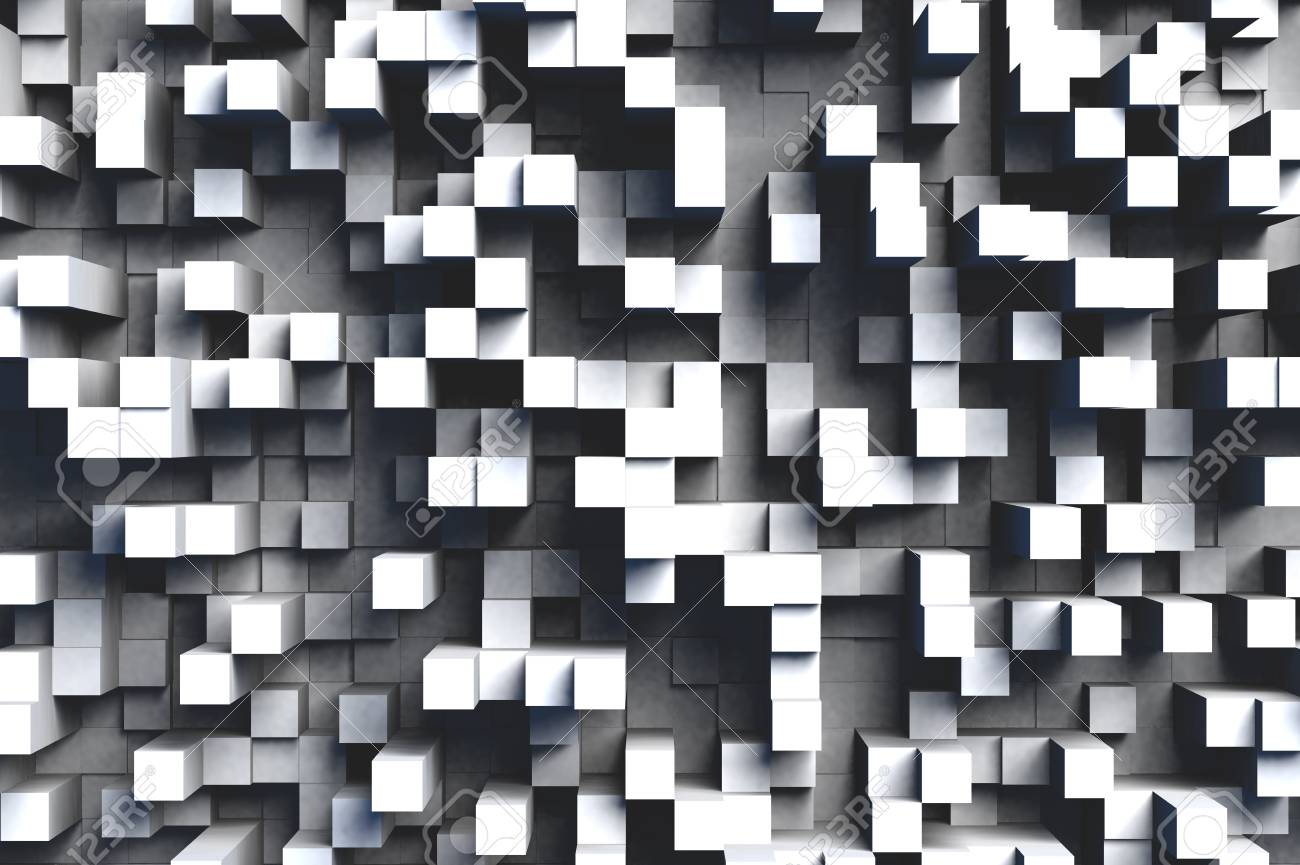 Abstract gray or black and white 3d geometric cube or box shape tiles background or pattern