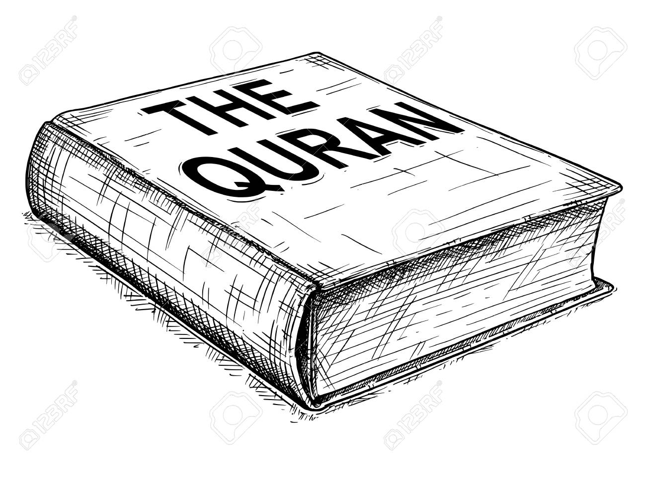 104893618-vector-artistic-pen-and-ink-drawing-illustration-of-the-quran-or-koran-book-of-islam-.jpg