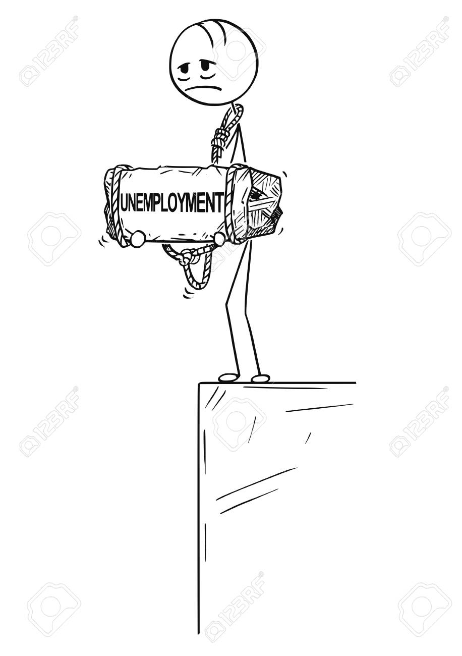 Cartoon stick drawing conceptual illustration of sad and depressed man or businessman standing on edge of precipice or chasm and holding big stone with