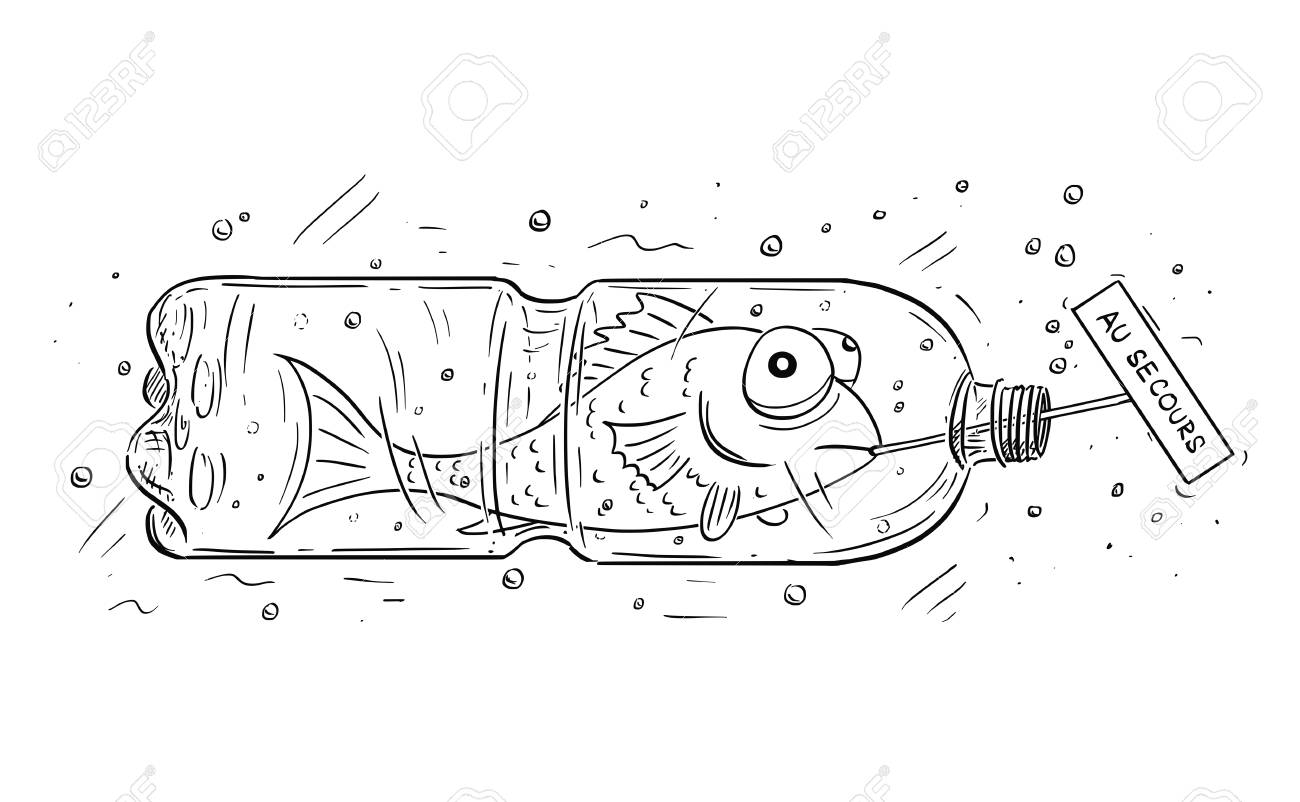 Cartoon Drawing Conceptual Illustration Of Fish Trapped In Pet