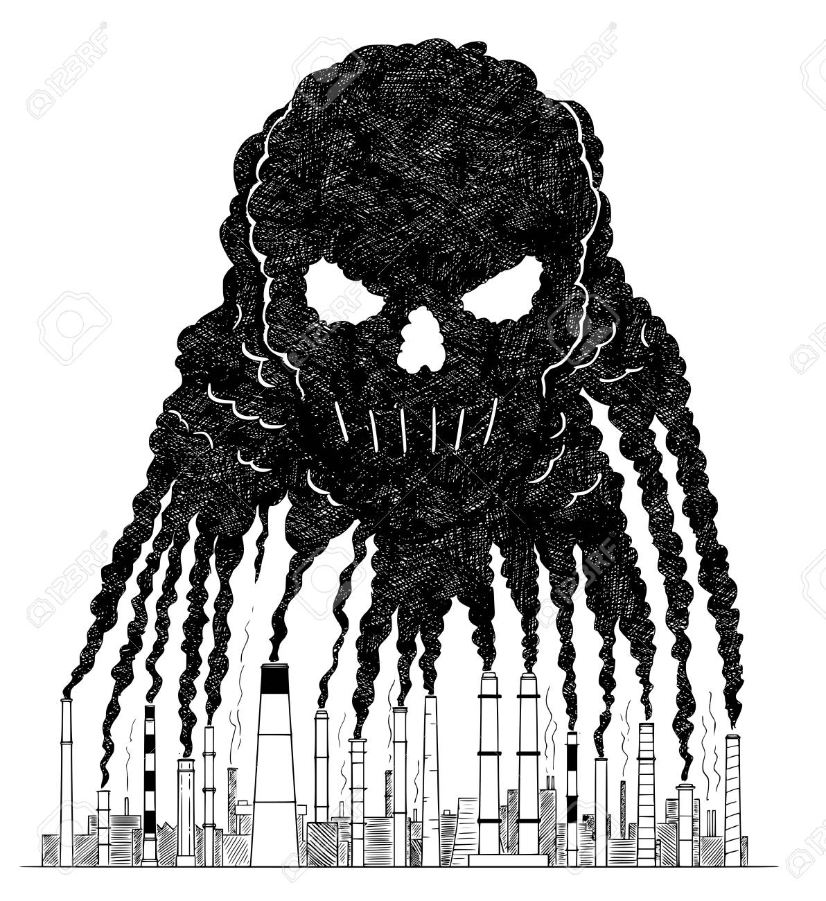 Illustration vector artistic pen and ink drawing illustration of smoke coming from industry or factory smokestacks or chimneys creating human skull shape