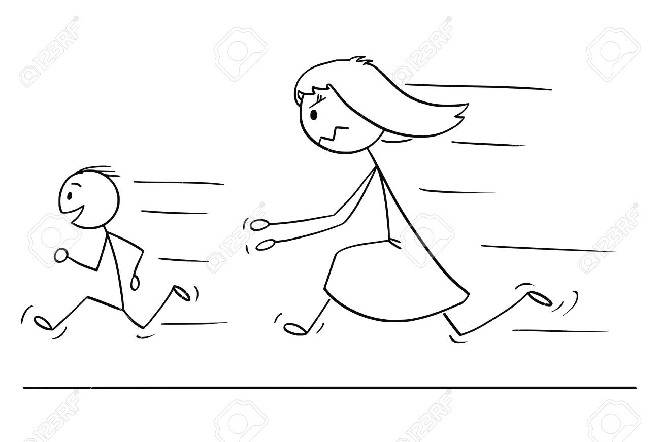 Cartoon stick drawing conceptual illustration of frustrated and angry mother chasing naughty and disobedient son. - 111780632