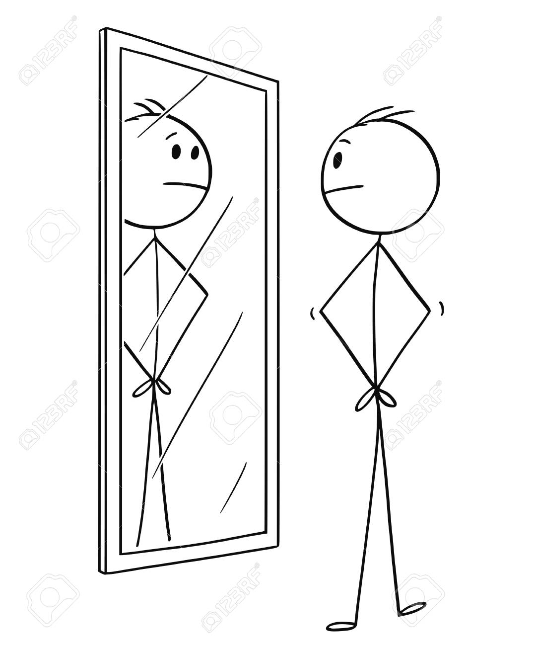 Cartoon stick drawing conceptual illustration of man looking at himself in the mirror. - 110690041