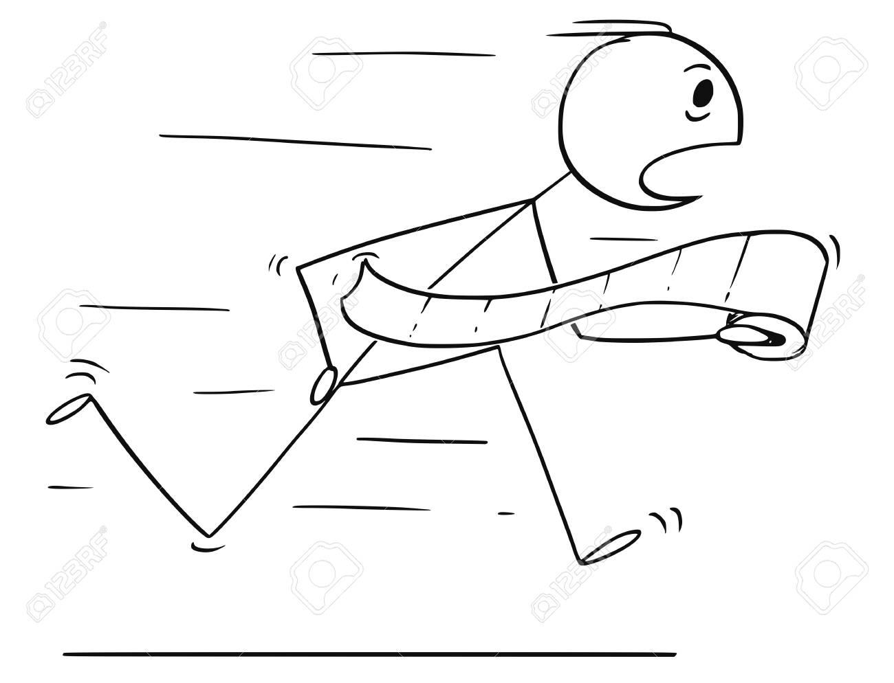 Cartoon Stick Drawing Conceptual Illustration Of Man Running Stock