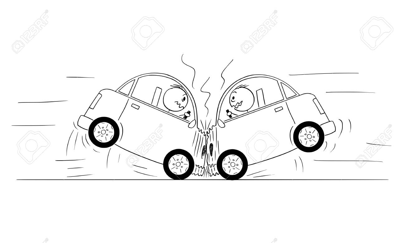 cartoon stick drawing conceptual illustration of two cars frontal head on crash accident