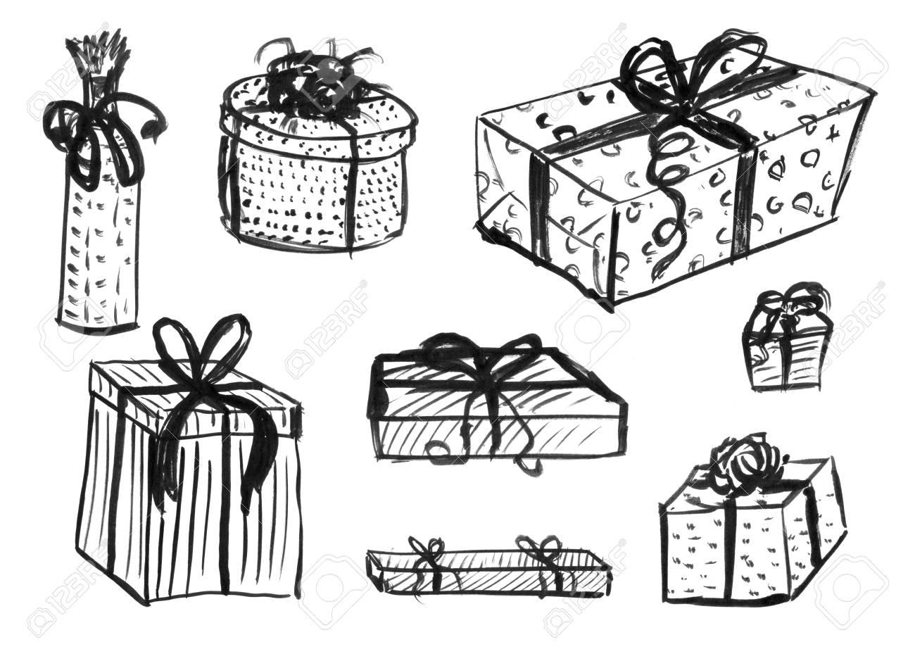 Christmas Gift Box Drawing.Black Brush And Ink Artistic Rough Hand Drawing Of Set Or Collection