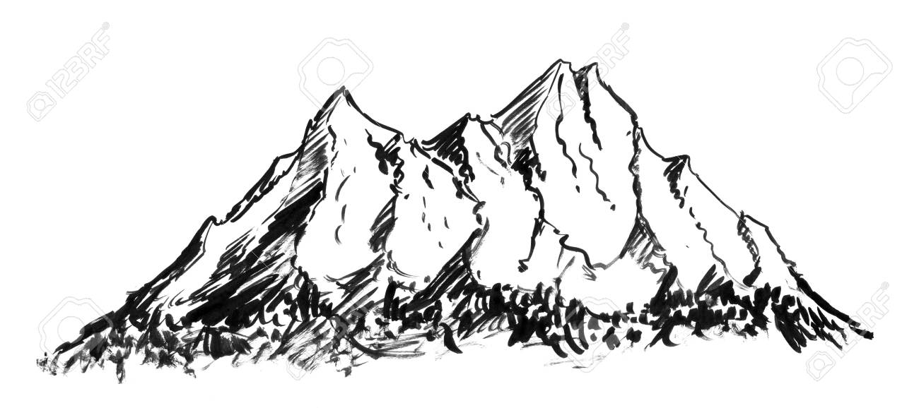 Black Brush And Ink Artistic Rough Hand Drawing Of Generic Mountain Stock Photo Picture And Royalty Free Image Image 112929665 Logotypes collection mountain icon various design. black brush and ink artistic rough hand drawing of generic mountain