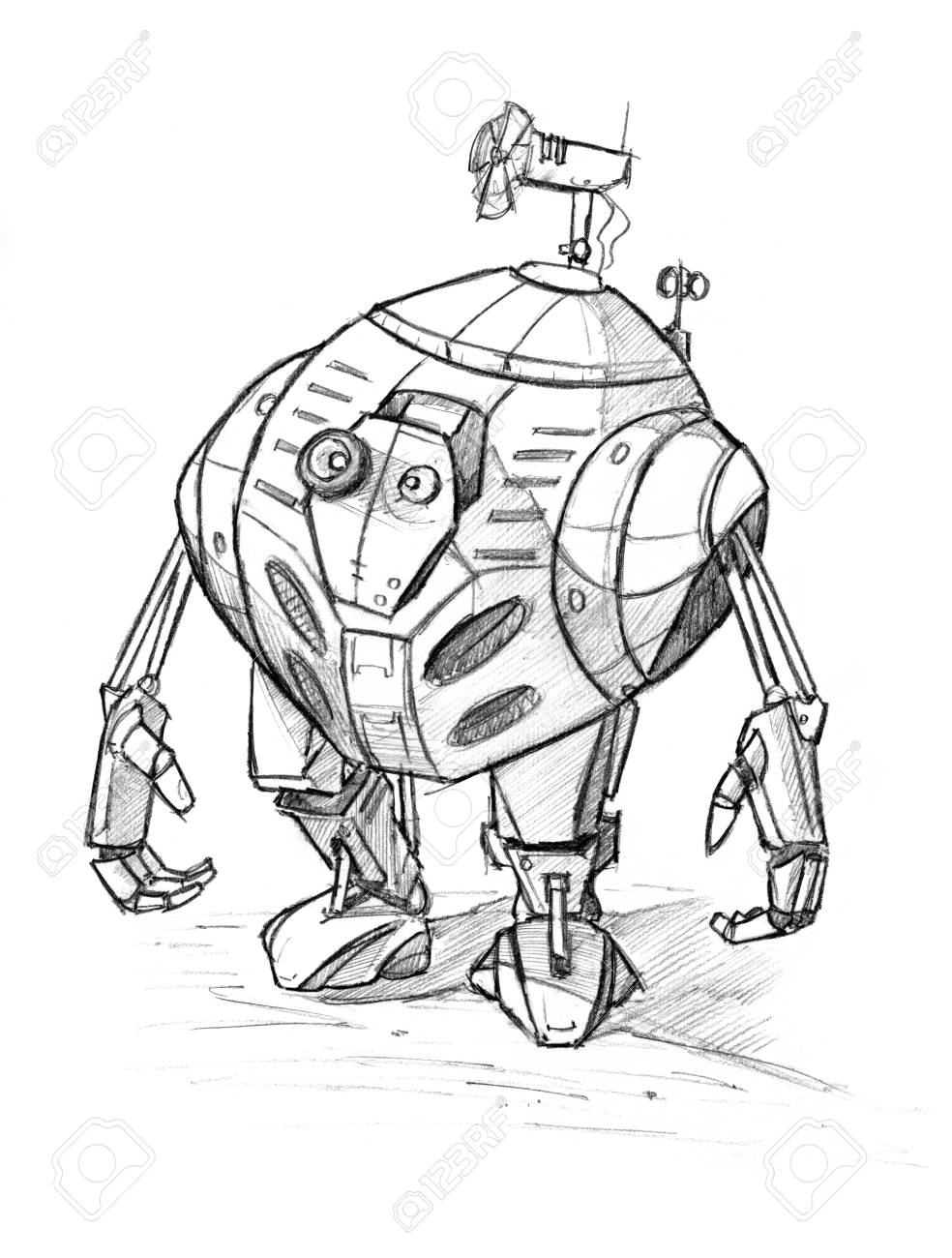 Black and white rough pencil sketch of cute funny robot character stock photo 113856140