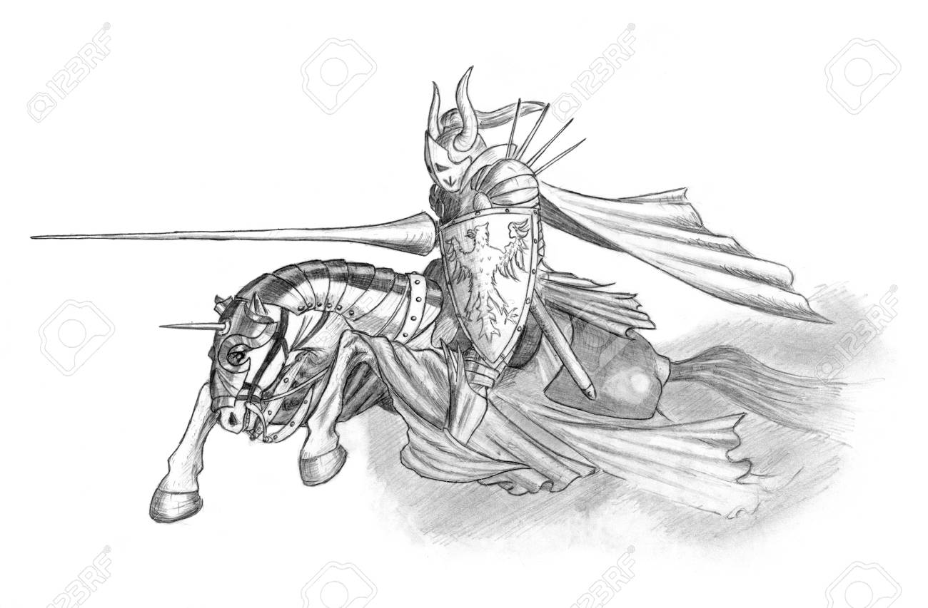 Black and white pencil drawing of medieval or fantasy knight riding or charging on horse with