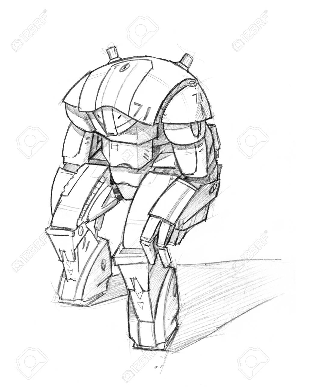 Pencil sketch robot under town
