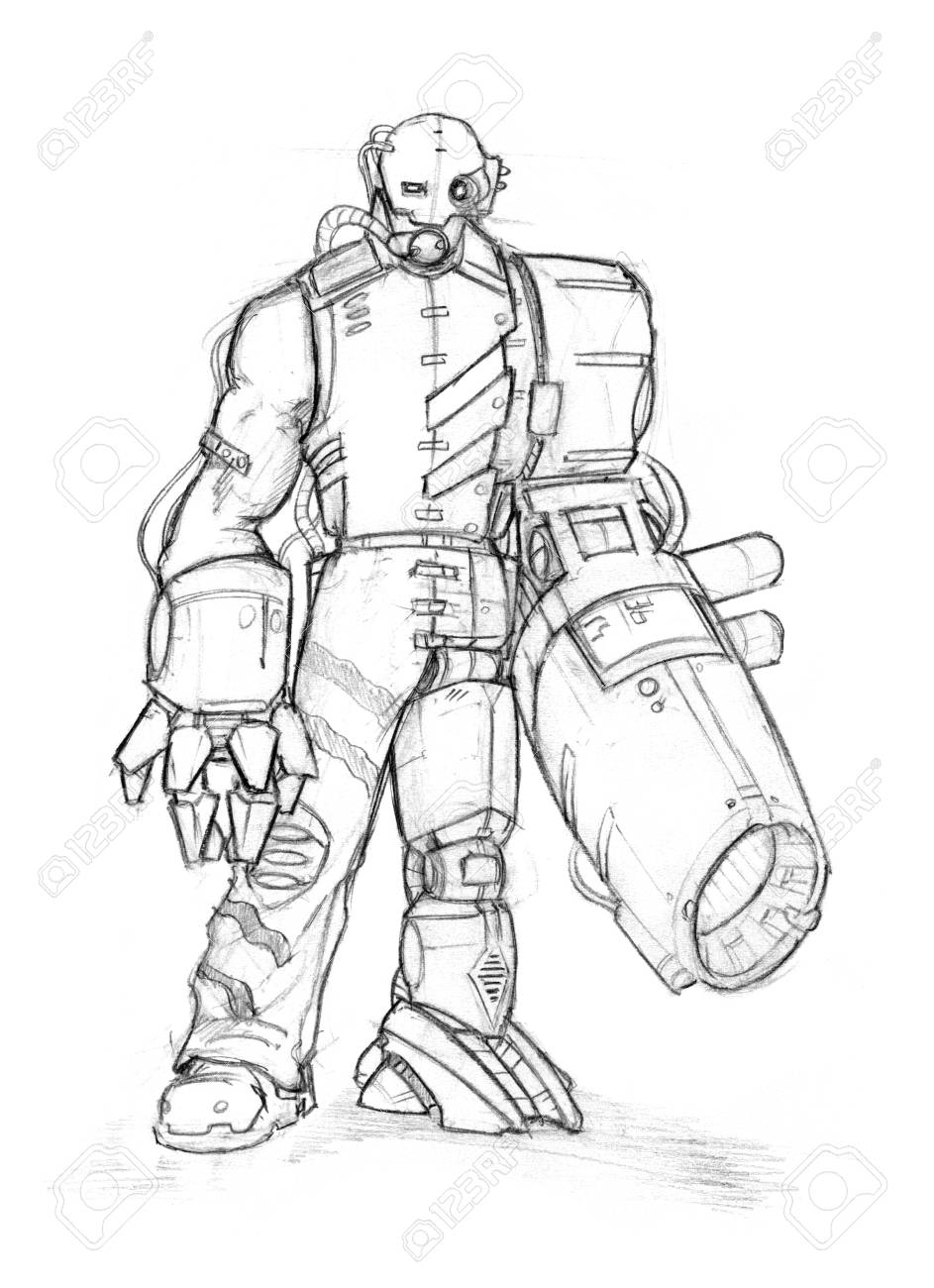 Black and white rough pencil sketch of dangerous cyborg soldier