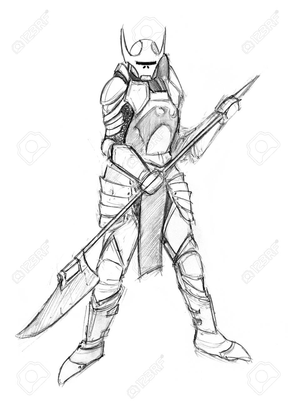 Black and white rough grunge pencil sketch of evil warrior knight concept art drawing