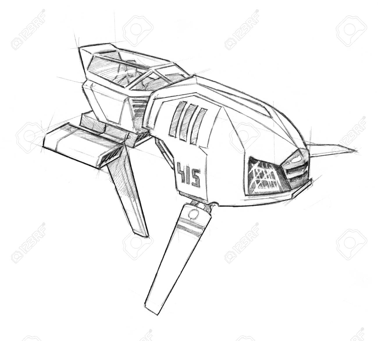 Black And White Ink Concept Art Drawing Of Futuristic Or Sci Fi Stock Photo Picture And Royalty Free Image Image 113856395