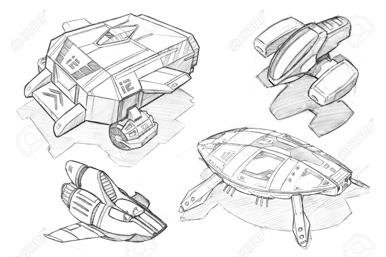 Black and white pencil concept art drawing of set of futuristic