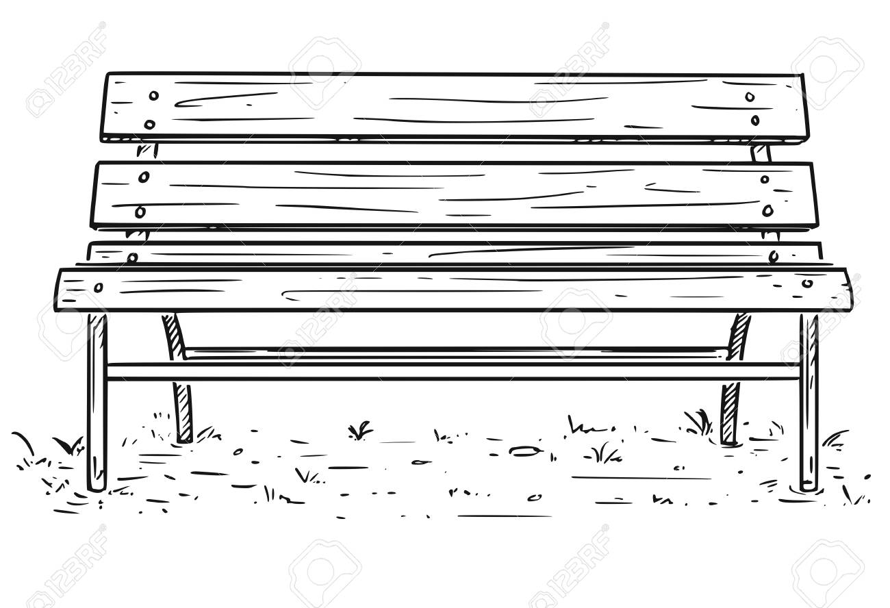 Cartoon Drawing Illustration Of Empty Park Bench Or Seat Made
