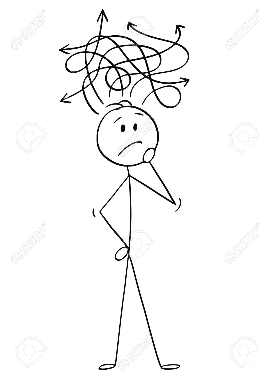 Cartoon stick figure drawing conceptual illustration of confused man or businessman thinking about problem. - 125078645