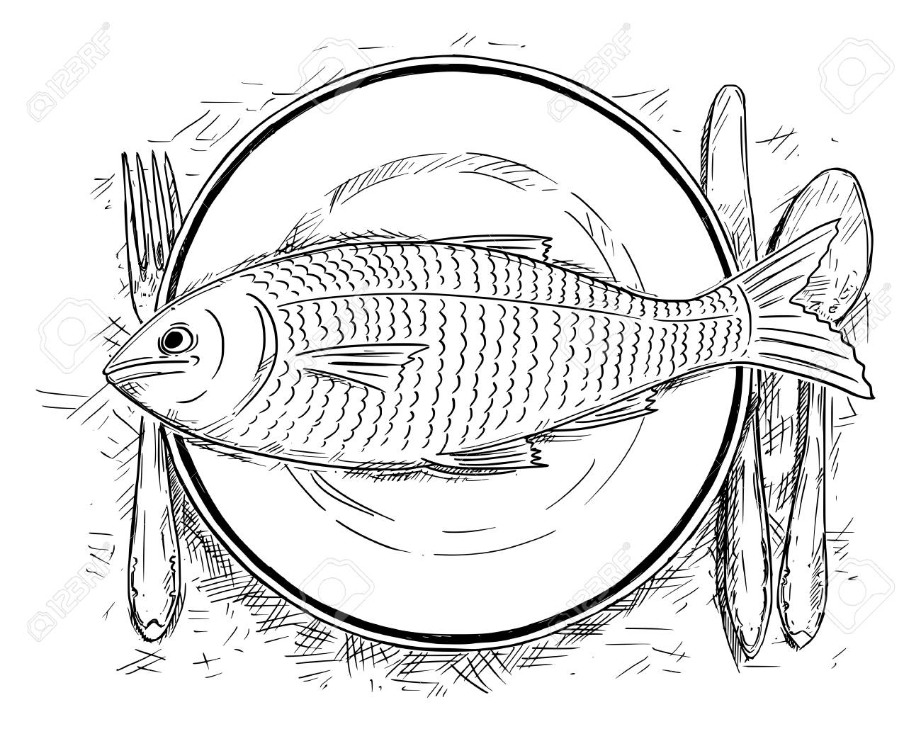 Cartoon Drawing Illustration Of Top View Of Fish Food On Dinner Royalty Free Cliparts Vectors And Stock Illustration Image 124624927