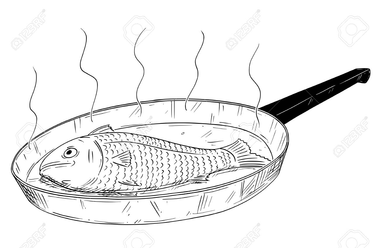 Cartoon Drawing Illustration Of Fish Food Cooked On Frying Pan