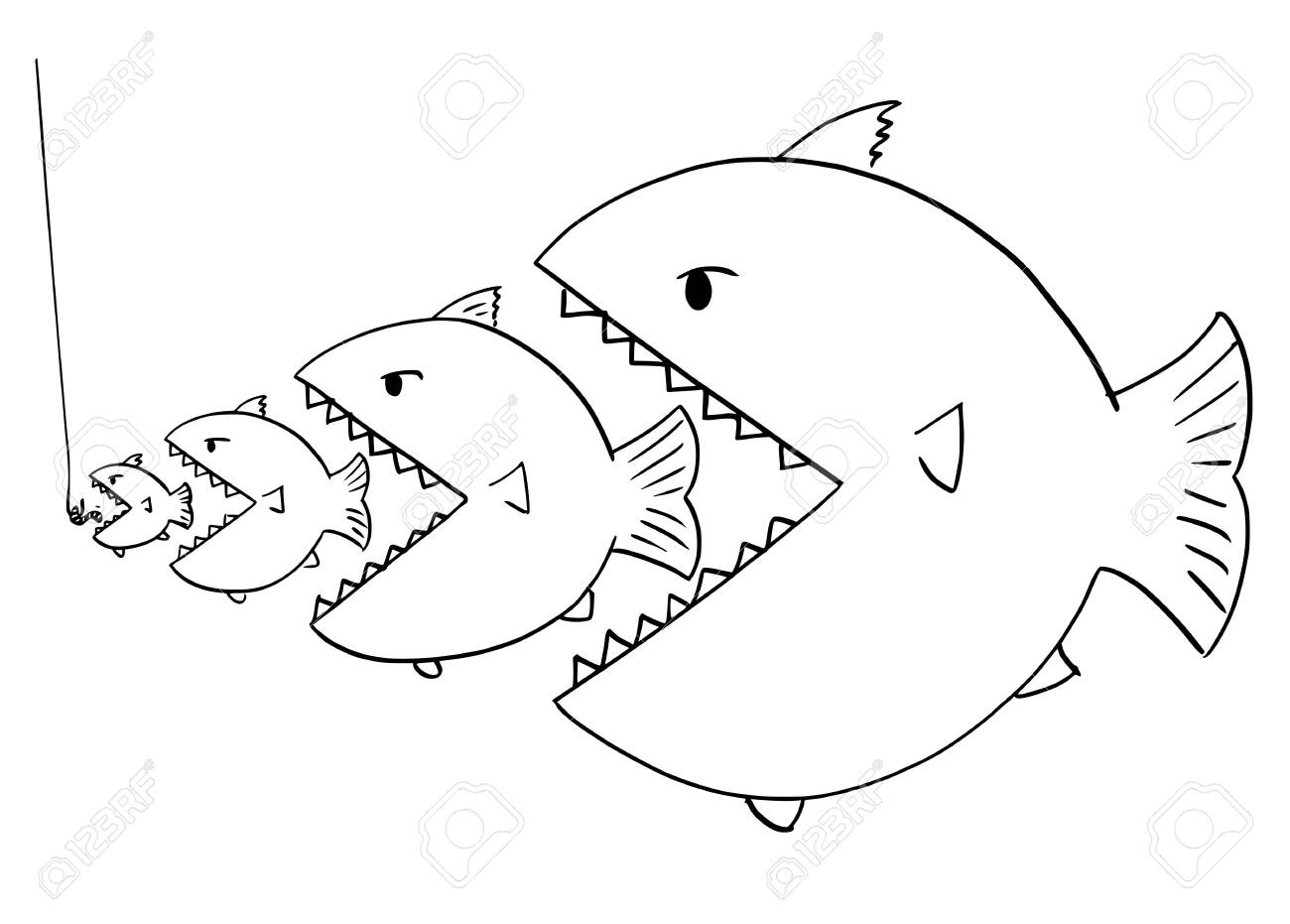 Cartoon Drawing Or Illustration Of Line Of Fish Bigger Is Eating