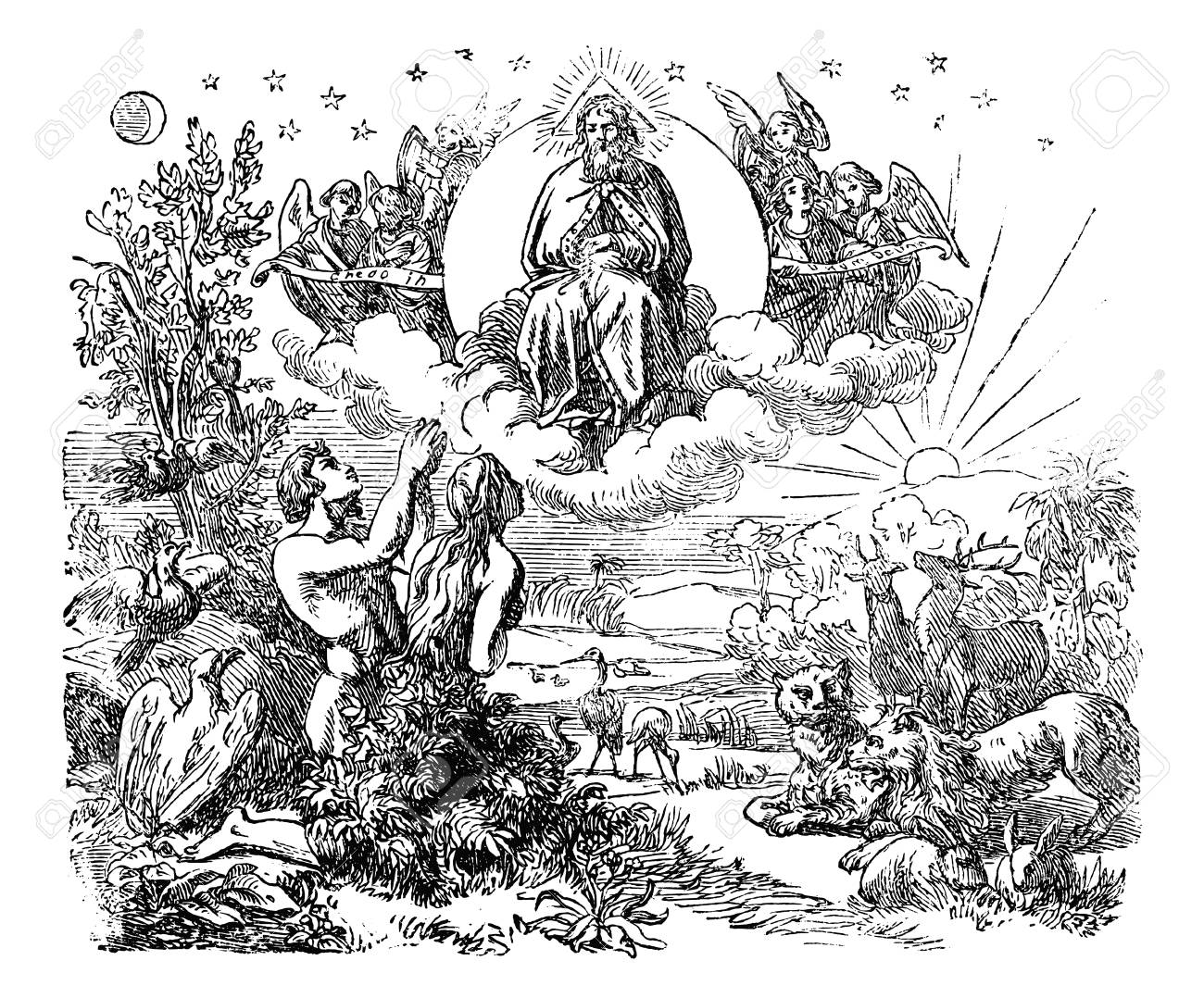 Vintage antique illustration and line drawing or engraving of biblical God and angels flying above the animals and Adam and Eve in Garden of Eden after the creation of the world.Genesis 1-2. - 119729722