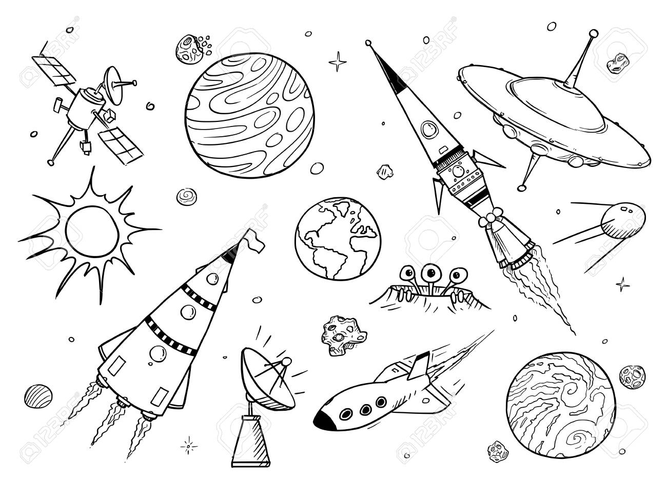 Set of cartoon vector drawings of space props like rockets, alien space ships or spaceships, UFO, planets and satellites. - 123734392