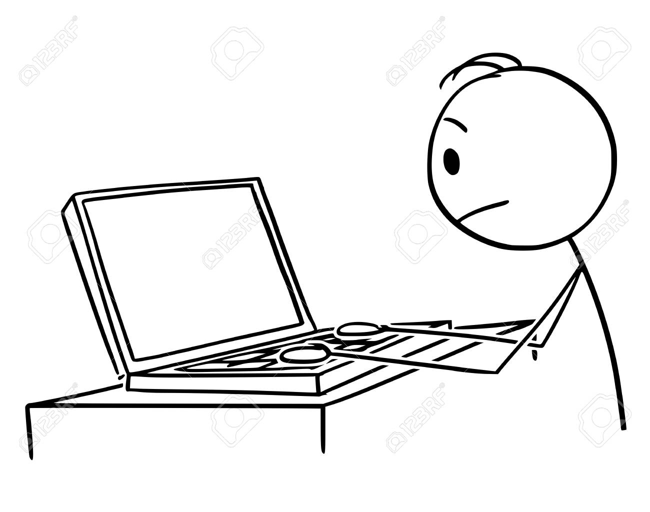 Vector cartoon stick figure drawing conceptual illustration of man or businessman working or typing on portable computer or laptop. - 122581333
