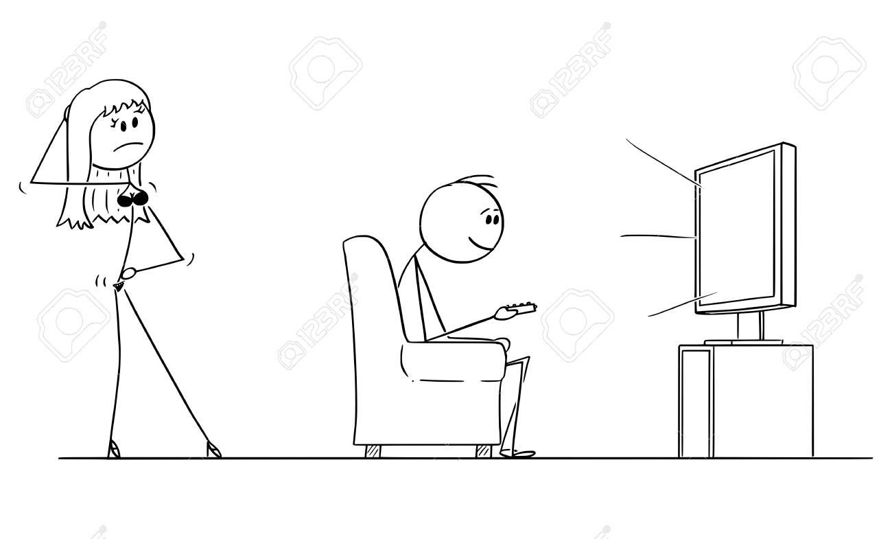 Vector cartoon stick figure conceptual illustration of man sitting in armchair and enjoying watching TV or television, while woman or wife in lingerie is offering him or sex. - 123671503