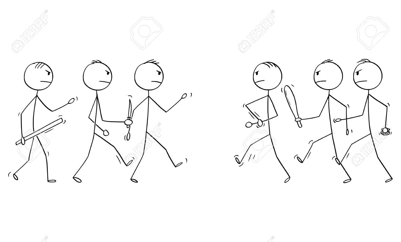 Vector cartoon stick figure drawing conceptual illustration of two groups of men or businessmen, who are going to fight or brawl with hand weapons like knife or rod. - 128434477